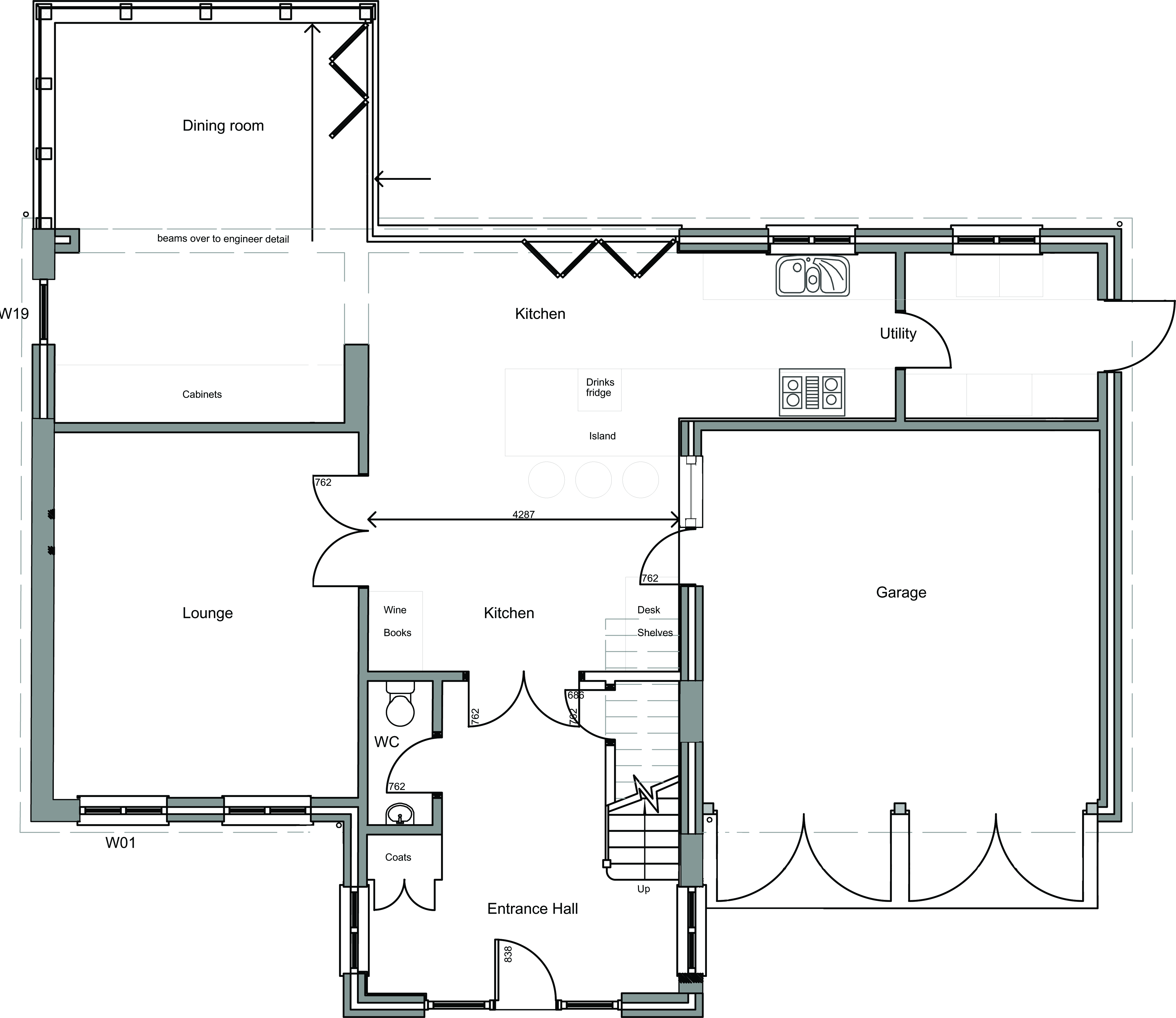 Bungalow converted into 4 bedroom house ground floor for New build house designs